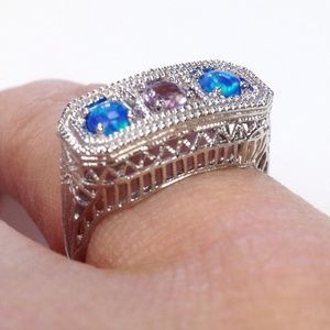 Art Deco amethyst opal Sterling Silver Ring 6